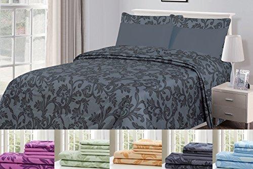 6 Piece: HOTEL LUXURY Kendall Printed Bed Sheet Set, Platinu