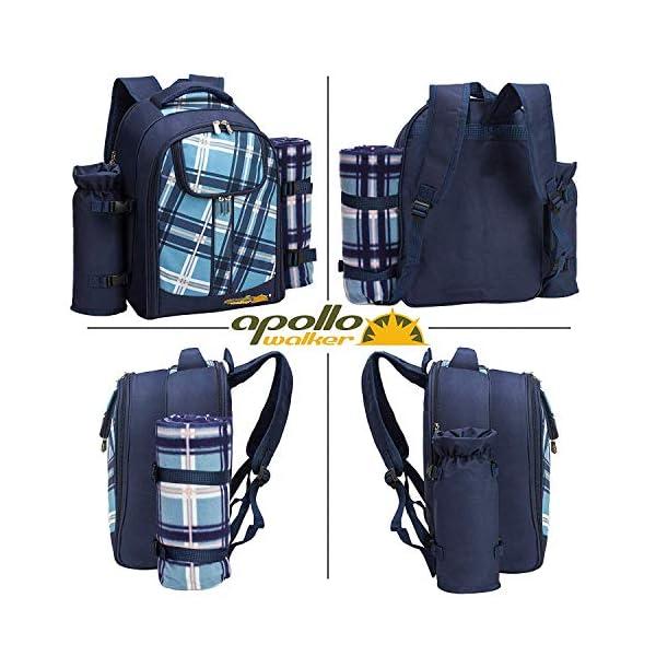 51pfB SoM1L apollo walker Picknickrucksack für 4 Personen mit Fleece-Decke und Kühlfach (Blau)