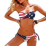 Yingzuzeng Women's patriotic American Flag Stars and Stripes Push UP Bikini Swimsuits US Flag2X-Small Sexy