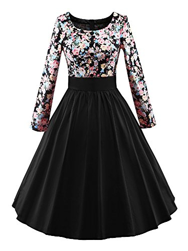 [iLover Women Long Sleeve Vintage Classical Casual Swing Dress] (Dresses From The 1920s)
