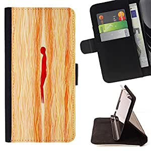 - Person Wood Imitation Pattern - Estilo PU billetera de cuero del soporte del tir???¡¯????n [solapa de cierre] Cubierta- For HTC One M8 £¨ Devil Case £©