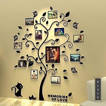 Asvert 3D Pegatina de Árbol Vinilos Hojas Negros 132 * 160 cm con 11 pcs Marcos de Foto Adhesivo Decorativo de Pared para Dormitorio Hogar Oficina: Amazon.es: Bricolaje y herramientas