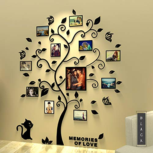 Asvert 3D Pegatina de Arbol Vinilos Hojas Negros 132 160 cm con 11 pcs Marcos de Foto Adhesivo Decorativo de Pared para Dormitorio Hogar Oficina