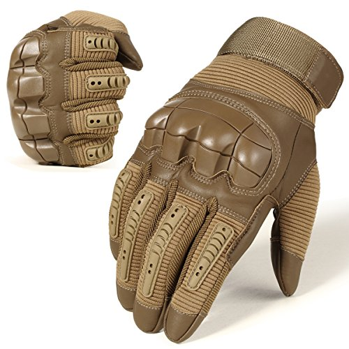 ry Tactical Touch Screen Rubber Hard Knuckle Full Finger Gloves for Combat Motorcycle Motorbike Hunting Hiking Airsoft Paintball Riding Size Brown Large ()