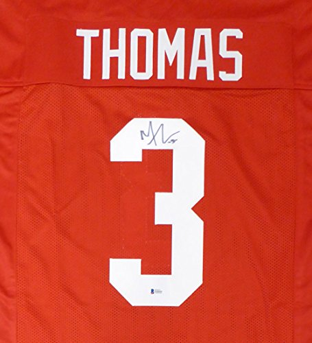 - Ohio State Buckeyes Michael Thomas Autographed Red Jersey Beckett BAS