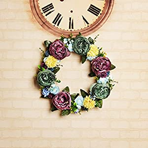FAVOWREATH 2018 Vitality Series FAVO-W12 Handmade 14 inch Green and Pink Stamen Peony Fall Grapevine Wreath for Summer Front Door/Wall/Fireplace Wedding Floral Hanger Artificial Flowers Home Decor 5