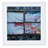 3dRose Danita Delimont - Architecture - USA, Massachusetts, Cape Ann, Rockport, lobster shack window - 22x22 inch quilt square (qs_259462_9)