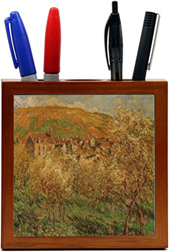 Rikki Knight Claude Monet Art Flowering Apples Design 5-Inch Wooden Tile Pen Holder (RK-PH3502) Flowering Apple