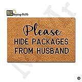 MsMr Door Mat Front Door Mat Indoor/Outdoor/Kitchen Decorative Doormat Non-slip Rubber Back 23.6''x15.7'' - Please Hide Packages From Husband