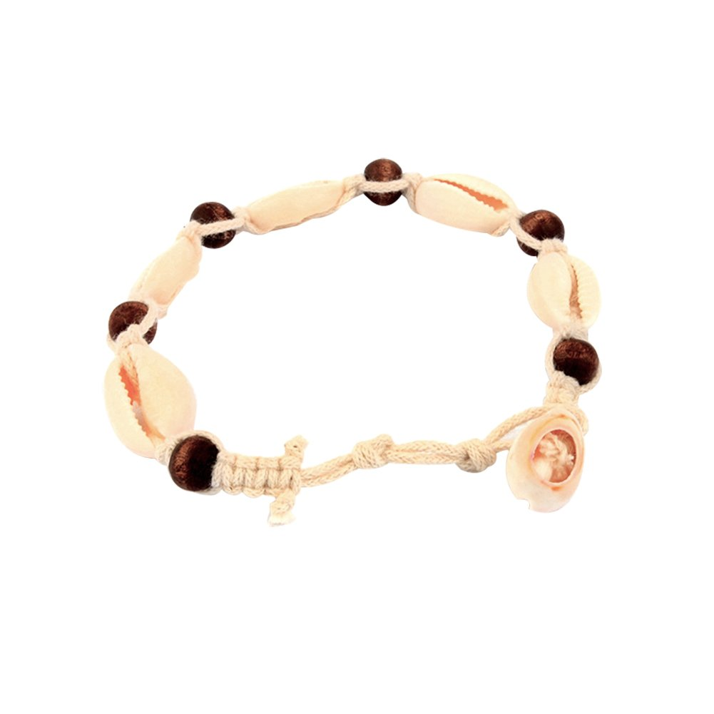 Butterfly Iron Anklets, Women's Knitted Wooden Beads Shell Anklet Ankle Bracelet Summer Beach Sandal Barefoot Jewelry