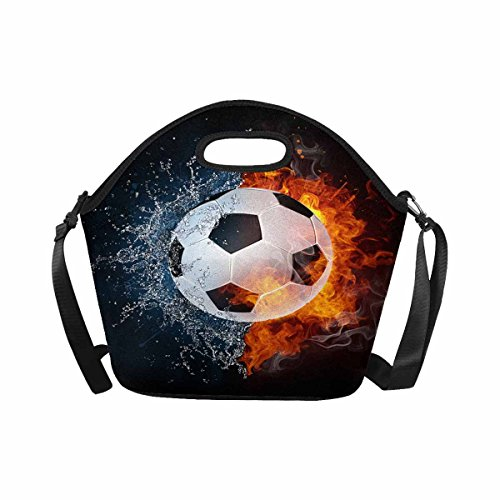 InterestPrint Fire and Water Soccer Ball Cool Sports Lunch Bag Tote Handbag Lunchbox Large Insulated Neoprene Gourmet Tote Cooler Warm Pouch with Shoulder Strap by InterestPrint