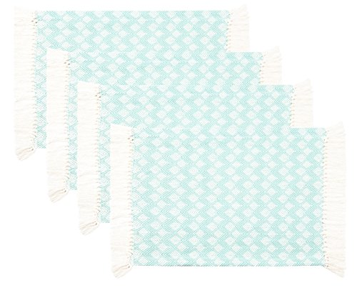 Sticky Toffee Cotton Woven Placemat Set with Fringe, Scalloped Diamond, 4 Pack, Aqua, 14 in x 19 in