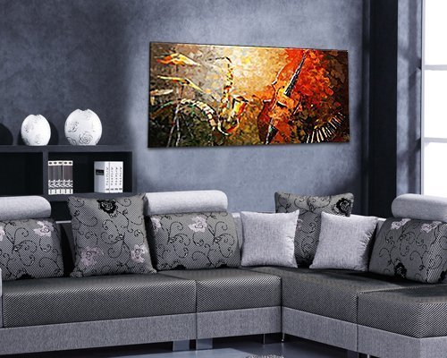 Everfun Art Hand Painted Oil Painting on Canvas Music Instrument Large Wall Art Decor Modern Picture Abstract Hanging Contemporary Artwork Unframed by EVERFUN ART