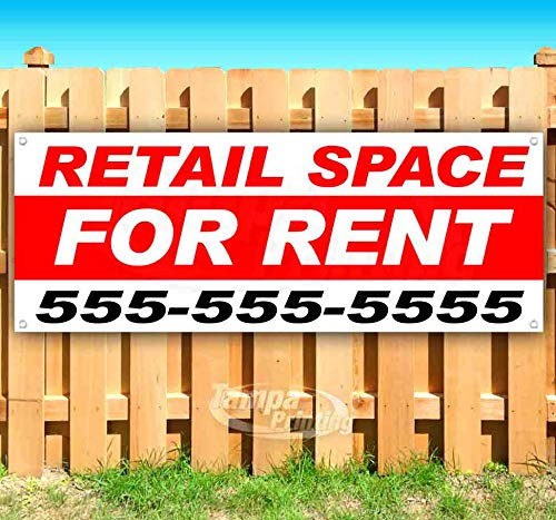 Retail Space for Rent 13 oz Heavy Duty Vinyl Banner Sign with Metal Grommets, New, Store, Advertising, Flag, (Many Sizes Available) ()