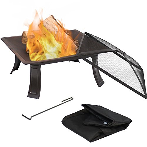 Sunnydaze 26-Inch Portable Square Campfire On-The-Go Fire Pit with Spark Screen and Carrying Case (The Fire On Go Pit Fire)