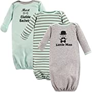 Luvable Friends Cotton Gowns, 3 Pack,Little Man, 0-6 Months