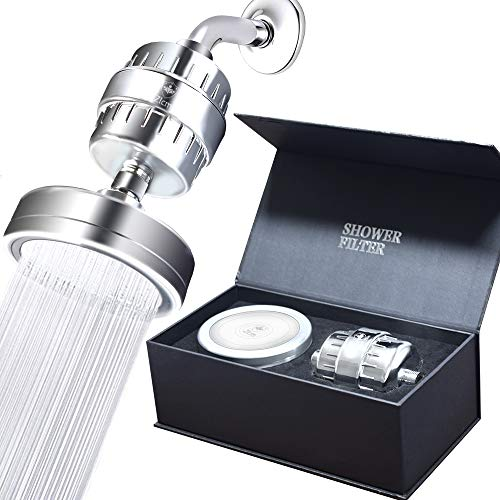 Luxury Filtered Shower Head Set  Shower Head Filter Cartridge Vitamin C and E  15-Stage Shower Water Filters  Universal Shower System - Removes Chlorine  Sediments