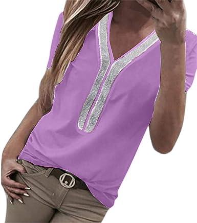 VEMOW Camisetas Moda Mujer Casual Lentejuelas de Manga Corta con Cuello en v Tops Blusa Casual Camiseta: Amazon.es: Ropa y accesorios