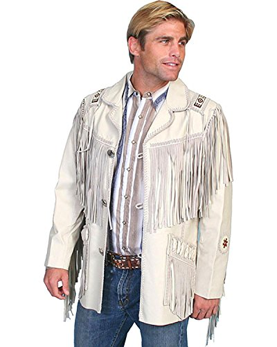 Fringed Suede Leather (Scully Men's Fringed Suede Leather Coat Tall Cream 44 R)