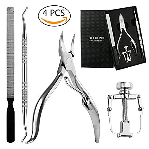 Profession 4PCS Ingrown Toenail Kit, Premium Stainless Steel Pedicure Tools Surgical Grade Nail File Clipper Lifter Corrector with Portable Box by BEEHOME