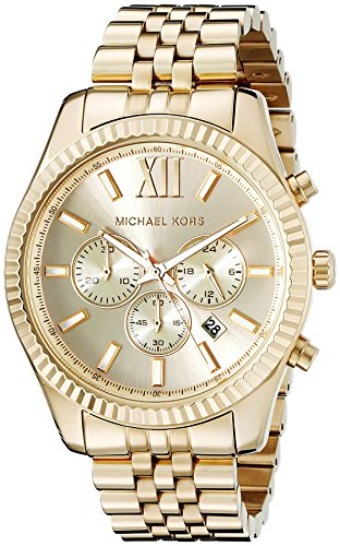 (Michael Kors Lexington Gold-Tone Stainless Steel Watch)