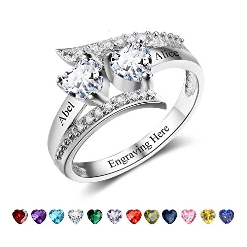 Lam Hub Fong Personalized Mothers 2 Birthstone Rings Custom Rose Gold Name Rings Sterling Silver Rings Promise Heart Rings For Her-RI102499-6