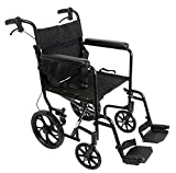 ProBasics 19-inch Transport Aluminum Wheelchair, Black, Includes Desk-Length Arms & Swing-Away Foot Rests, 22 lb. Foldable Wheelchair for Storage & Transport