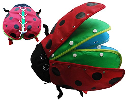 Toys Skills Learning Life (Montessori Learn to Dress Toys Ladybug Plush Toys - Zip, Snap, Button, Buckle,and Lace Kids Early Learning Basic Life Skills Toys)