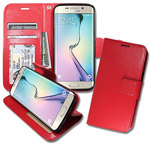 [S6 Edge [ Wallet ] Case, Samsung S6Edge Soft Leather Flip Cover with [ Foldable Stand ] Pockets for ID, Credit Cards, Kickstand Features] (Lady Gaga Video Costumes)