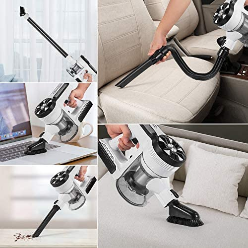MOOSOO Cordless Vacuum Cleaner, Ultra-Powerful 26Kpa Suction Stick Vacuum with 3Hrs Fast Charging Quiet Lightweight 5 in 1 Handheld Vacuum for Carpet Hardwood Floor Rug Pet Hair M24