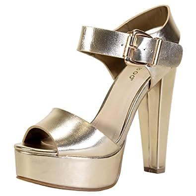 Amazon.com | BAMBOO Women's Chunky Heel Platform Sandal