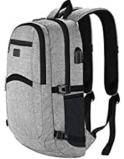 Anti-Theft Backpack, Business Laptop Rucksack with USB Charging Port, Slim Lightweight School Bag for Boys Girls Fits 15.6 Inch Computer Notebook Daypack for Work, College Men Women