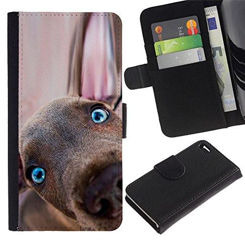 Be Good Phone Accessory // Caso del tirón Billetera de Cuero Titular de la tarjeta Carcasa Funda de Protección para Apple Iphone 4 / 4S // Weimaraner Puppy Vizsla Dog Redbone