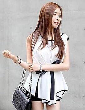 hjl-women de Irregular sin mangas chifón blusa white-xl Talla:white-