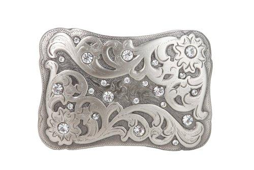 - Rectangular Engraving Rhinestone Flower Belt Buckle