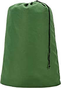 HOMEST Heavy Duty Cotton Laundry Bag, 28''x40'', Shrink-proof Dirty Clothes Organizer for Camp, Fits Laundry Hamper or Basket, Green