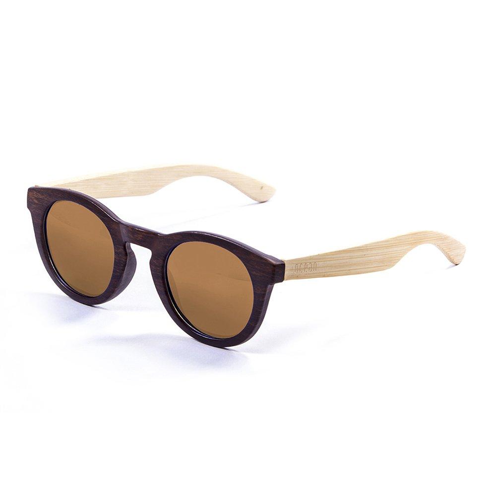 Ocean Sunglasses San Francisco Lunettes de Soleil Mixte Adulte, Bamboo Dark Frame/Wood Natural Arms/Brown Lens