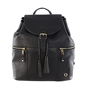 'Leather Baby Changing Backpack' Thor Nude Leather Backpack Changing Bag (Black)