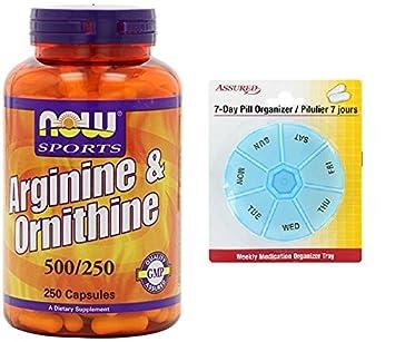 AHORA L-arginina y ornitina 500/250 mg, 250 cápsulas con gratis 7
