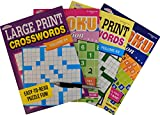 Large Print Crossword and Sudoku Puzzle Books for Adults Activity Books Bundle