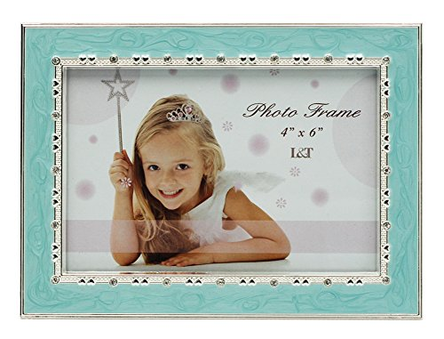L&T Aqua Blue Enamel Picture / Photo Frame Metal with Silver Plated and Crystals 4 x 6 - Frame Aqua Picture