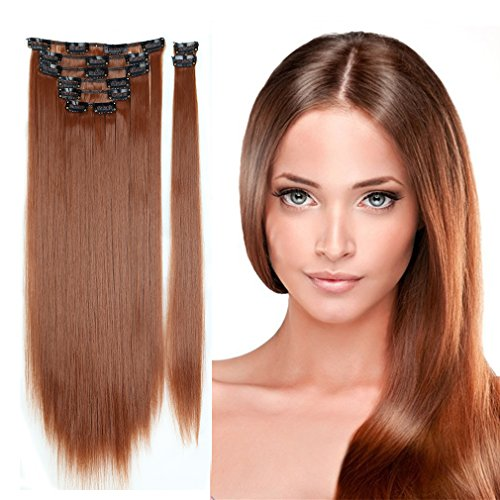 [Hairpieces Clip in Synthetic Hair Extensions Japanese Kanekalon Fiber Full Head Thick Long Straight Soft Silky 8pcs 18clips for Women Girls Lady 23'' / 23 inch (30# Light] (Sexy Glamour Wig In Auburn)
