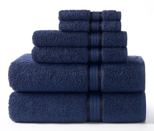 Cotton Craft Ultra Soft 6 Piece Towel Set Night Sky, Luxurious 100% Ringspun Cotton, Heavy Weight & Absorbent, Rayon Trim - 2 Oversized Large Bath Towels 30x54, 2 Hand Towels 16x28, 2 Wash Cloth 12x12