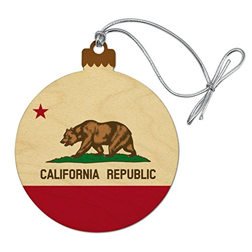 GRAPHICS & MORE California Republic State Flag Wood Christmas Tree Holiday Ornament