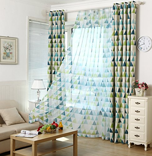 Green Single Transparent Rod - AliFish 1 Panel Geometric Figure Printing Transparent Sheer Curtains Triangle Pattern Living Room Sheer Tulle Curtains Rod Pocket Process for Children Kids Room W39 x L63 inch