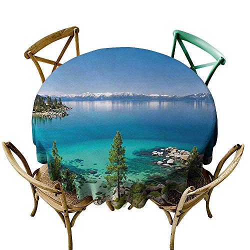 Wendell Joshua red Tablecloth 50 inch Blue,Tranquil View of Lake Tahoe Sierra Pines on Rocks with Turquoise Waters Shoreline,Blue Grey Green 100% Polyester Spillproof Tablecloths for Round Tables