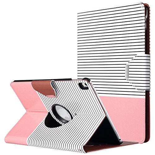 ULAK iPad Pro 10.5 Case, Multi-Angle 360 Degree Rotating Stand Protective Cover with Auto Sleep/Wake Feature Hand Strap for Apple iPad Pro 10.5 Inch 2017 Release (Rose Gold/Black Stripe)