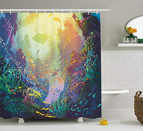 Ambesonne Sea Animals Shower Curtain Underwater with Coral Reef and Colorful Fish Aquarium Print Cloth Fabric Bathroom Decor Set with Hooks 70quot Long Turquoise Yellow