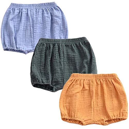 REWANGOING 3 Pack of Baby Infant Kids Girl Soild Cotton Linen Blend Soft Ruffle Bloomer Shorts Pants 80cm]()