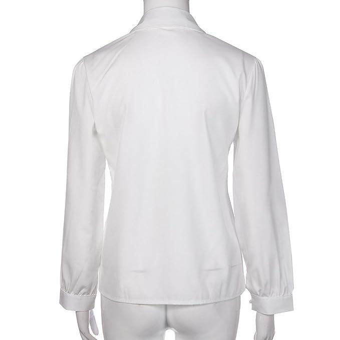 VRTUR Camisa de Manga Larga de la Solapa de la Blusa de Las Mangas largas Ocasionales de Las Mujeres S-L Negocio: Amazon.es: Ropa y accesorios